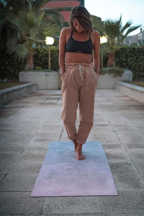 Girl on RR-OM yoga mat